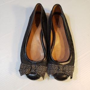 Coach Black Leather Signature C Fabric Ballet Flat